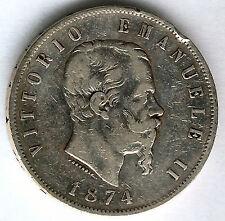 Italia 5 Liras 1874 M Emanuel II plata @ Bella @