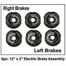 Electric Trailer Brake Assemblies 12in x 2in Standard 5 Hole Pattern Set of 6