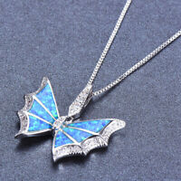 Sterling Silver 925 Charm Blue Fire Opal Butterfly Zircon Pendant Necklace Women