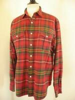 Mens sz L Polo Ralph Lauren Heavy Flannel Shirt Plaid Work Long Sleeve Red Green