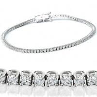 Beautiful Tennis Bracelet I1 H 2.50Ct Round Diamond Prong Set 14Kt White Gold