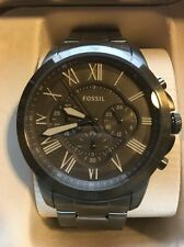 NWT Men's Fossil Grant Grey Stainless Steel Band Chronograph Watch FS5256 44mm