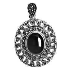 Marcasite Pendant Sterling Silver 925 Vintage Style Jewelry Black Onyx 37 mm