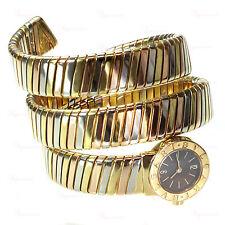 BVLGARI Tubogas 18k Tri-Tone Gold Snake Cuff Watch