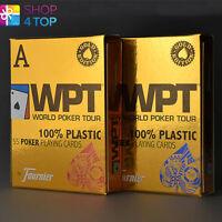 FOURNIER WPT GOLD EDITION 100% PLASTIC CASINO POKER KARTEN ROT BLAU SPIELKARTEN