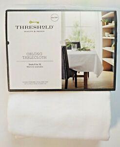 "Threshold Oblong Tablecloth White 60""x104"""