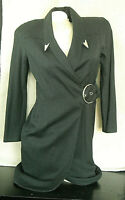 CLAUDE RAP PARIS - GRAY, LAINE WOOL WRAP DRESS - SIZE 8 USA/38 EU/10 UK/44 IT