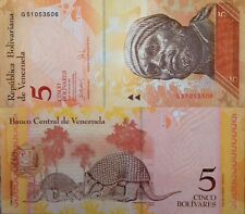 VENEZUELA 2007 5 BOLIVARES UNC NOTE P-89 GIANT ARMADILLOS BUY FROM A USA SELLER