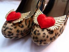 Gold Winged Red Velvet Dizzy Luscious Hearts Shoe Clips - Rockabilly Pin-up