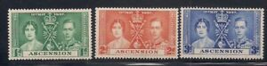 Ascension  1937   Sc #37-39   Coronation   MLH   OG   (5003-)