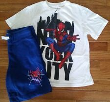 Aeropostale Kids Marvel Comics Boys Size 8 Shirt & 7 Shorts Set Blue Spider-Man