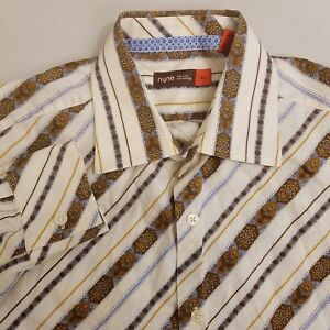 NYNE Button Up Shirt Men's Size XL Extra Large Beige Brown Striped