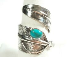 925 STERLING SILVER SOUTHWEST STYLE WIDE FEATHER WRAP TURQUOISE SIZE 9 RING