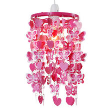 Girls Ceiling Pendant Shade Pink Hearts Butterflies Teens Bedroom Decoration