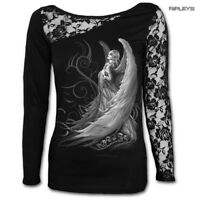 Spiral Direct Ladies Black Goth CAPTIVE Spirit Angel Lace Top L/Sleeve All Sizes