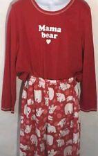Karen Neuburger Womens' Christmas Holiday Pajamas Set PJ Mama Bear, Red, Med NEW