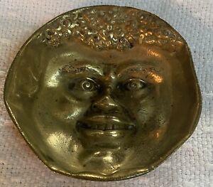 "Antique Black Americana Face Brass Bowl  4' x 1.5"" Heavy"