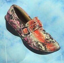 Nurse Mates Size 8 M Gelsey Pillowtop Pink Coral Snake Print Clogs Comfort Shoes