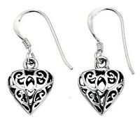 Elements 12mm 925 Oxidised Sterling Silver Filigree Puffed Heart Drop Earrings