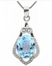 14K White Gold Over Silver Diamonds Sapphire and 4.22 CTW Swiss Topaz Necklace