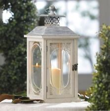 "18"" Antiqued Distressed  Cream Lantern. Crafted Wood & Metal Gorgeous Home Decor"