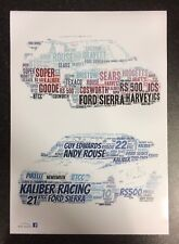 RACING FORD SIERRA RS500 TEXACO KALIBER Super Touring Word Art ~ A3 LUCIDO POSTER