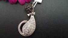 GENUINE 925 SOLID STERLING SILVER ZIRCONIA PENDANT- CAT  MADE IN ITALY