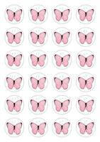 24 Pale Pink Butterfly Cupcake Cake Toppers Edible Rice Wafer Paper Decorations