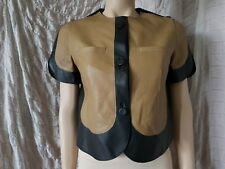 MARNI 100% calf leather short sleeve cropped jacket in mustard/black size 44 IT
