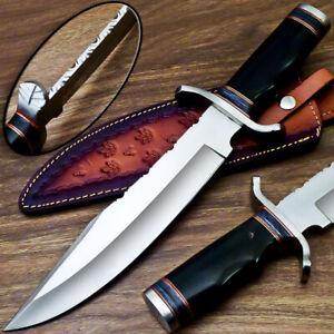 UNIQUE CUSTOM HANDMADE D2 STEEL BLADE BOWIE HUNTING KNIFE - BULL HORN - WD-9507