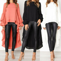 Women Long Sleeve Asymmetrical Waterfall Shirt Tops High Low Plus Blouse Shirt