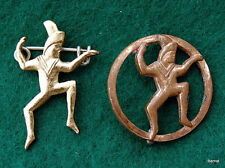 GIRL SCOUT 1st (1921-37) & 2nd (1937-39) BROWNIE MEMBERSHIP PINS - RARE FIND