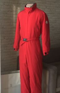 Rare Mens Moncler Grenoble Vintage Red Hooded Ski Overalls Recco Lampo Zip Sz 2