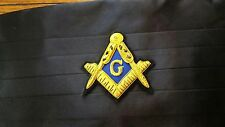 Masonic Lodge Black Cumberbund with Gold and Blue Embroidery Square & Compass
