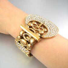 Glossy Gold Belt Rhinestone Stretching Bracelet Metal Women Fashion Gift