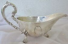 Sterling Silver Hammered Gravy Boat Bowl Antique Heer Schofield Silver Claw Feet