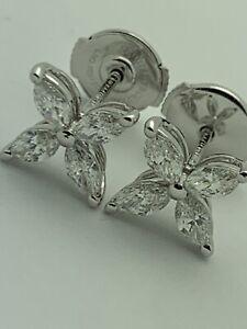 Tiffany And Co Diamond Victoria earrings PT950 large Medium Platinum