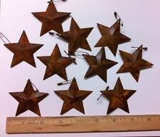 """DLCC~10 PCS PRIMITIVE RUSTIC 2.25"""" metal tin barn star with safety pin  rust"""