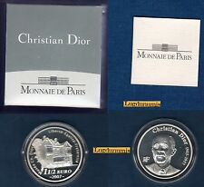 Coffret BE 1 Euro 1/2 Argent 2007 BE Christian DIOR 3000 Ex Boite + certificat