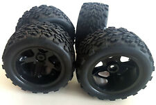 1928V2WB 1/10 Scale RC Nitro Monster Truck Off Road Wheels and Tyres x 4 Black
