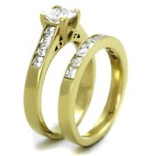 Stainless Steel Anniversary Wedding Ring Set Princess Square Cz 14K Gold Plated