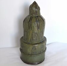 "Brutalist Abstract Art Pottery Renaissance Steeple Tower 12.5"" Incised Green"