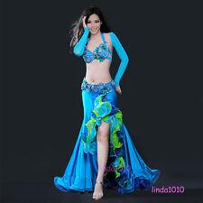 D Cup Belly Dance Costume Set Bra Top Belt Skirt Dress Carnival Bollywood 4PCS