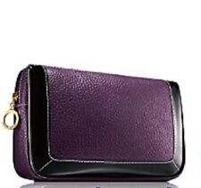 Estee Lauder Eggplant Faux Pebbled Leather Makeup Cosmetic Bag