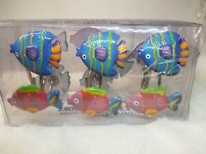 Tropical Fish Shower Curtain Hooks Set of 12 Multi Color Saturday Knight LTD