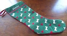 """Needlepoint Dog Christmas Stocking Red Felt Back Vintage Meesha 20"""""""