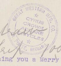 La Porte, IN / Cyrus Crown Adlake Bicycles ink stamp / Michigan Ave / 1910