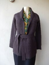 Banana Republic Wool Blend Blend Cable Knit Open Front Brown Cardigan Sz XS
