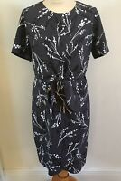 Roman Ladies Grey Wrap Dress Size UK 12 Floral Work Office