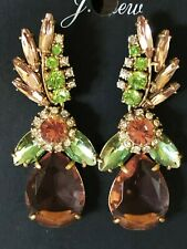 J. CREW CORAL GREEN CLEAR MULTI-SIZE DANGLE DROP CRYSTAL EARRINGS  NEW
